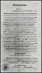 Sterbeurkunde Heinrich Bongartz
